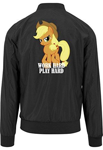 Work Hard Play Hard Pony Bomberjacke Black Certified Freak