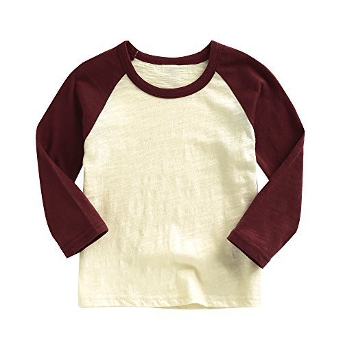 Agibaby Boys and Girls Infant & Toddler Long Sleeve Baseball T-shirt (L(3-4T), Wine Red)