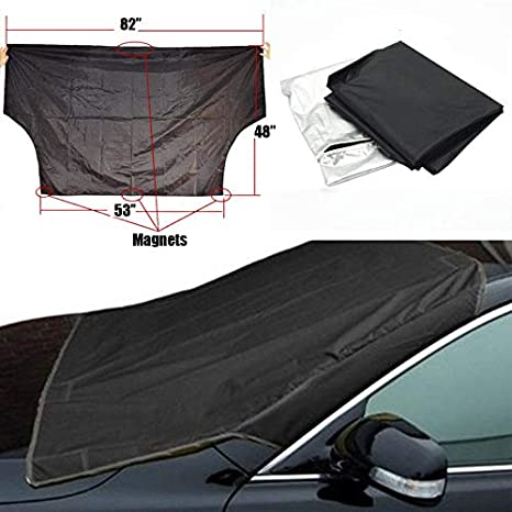 Qlhshop Car Sun Shade Windshield Sunshade Window Visor Reflector Shades Shield Visors Front Sunshield Cover Auto Accessories With Magnetic Sliver Fit Any Car SUV Truck Covers 82x 58