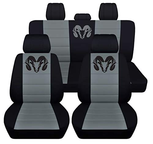 40 20 40 Front and Rear Seat Covers for 2013 to 2018 Dodge Ram 22 Color Options (Solid Rear Bench, Black Steel Grey)