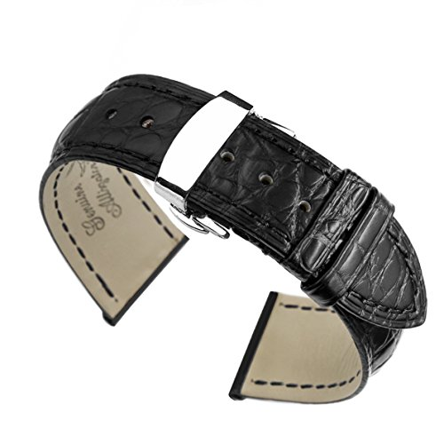 - 20mm Black High-end Crocodile Leather Watch Straps/Bands Replacement Handmade for Luxury Watches