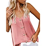 YFancy Fashion Womens Sexy Summer V-Neck Vest Sleeveless Button Basic Shirt Blouse Casual Tank Tops Solid Color Pink