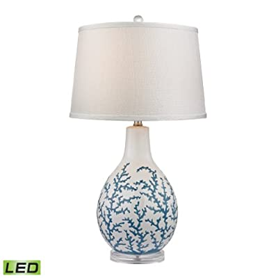 "Diamond Lighting Transitional 27"" Sixpenny LED Table Lamp in White"