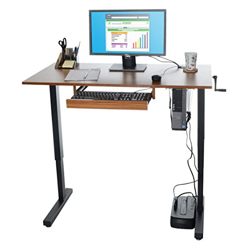 Milliard Height-Adjustable Standing Desk   48 x 24in Desktop w/Sliding Keyboard Tray   Walnut Finish w/Black Hardware ()
