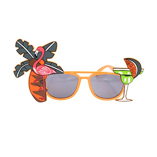 Tinksky Tropical Hawaiian Flamingo Eyeglasses Coconut Tree Juice Eye Glasses for Luau Party Beach Gathering Beer Festival children's party - Beer Eyeglasses