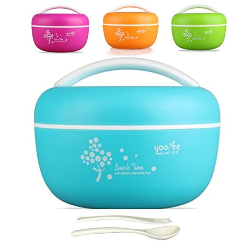 Couscous Salad - Bento Box Lunch Bowl for Adults, Women. Salad Container and Lunchbox with Handle. Microwave and Dishwasher Safe. BPA free. Two Compartments. FREE Fork and Spoon Accessories. 1200 ml/5 cups/40 oz. Blue
