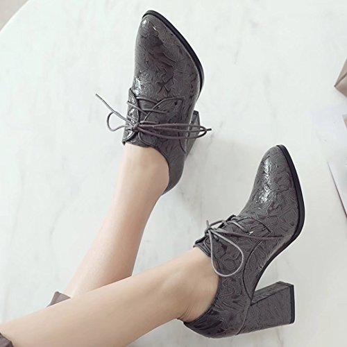 AIYOUMEI Damen Blockabsatz High Heel Pumps mit Schnürung und 8cm Absatz Elegant Schuhe Grau