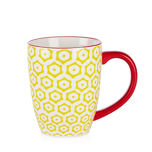 Sparrow & Wren Patterned Footed Coupe Mugs (Coupe Yellow)