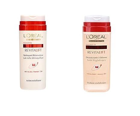 LOréal Revitalift - Leche desmaquillante con acción revitalizante de 200 ml + tónico facial