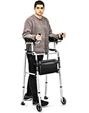 GYMAX Folding Walker, Adjustable Standard Walker with Removable Armrest, Seat, Wheeled Rolling Rehabilitation Auxiliary Walking Aid for Senior, Disabled, Limited Mobility