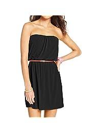 Trixxi Womens Juniors Slub Strapless Casual Dress Black XS