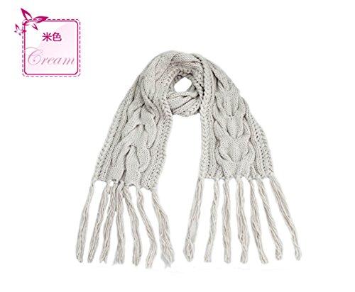 HYP Winter scarf Shawl Girl warm solid color fringed 240X30+30X2cm, - Scarf Fringed Winter