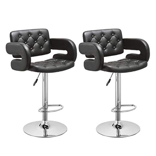 Iusun Set of 2 Swivel Stool Leopard Rolling Chair Bar Adjustment Height Office Seat Salon Cushion Seat for Beauty Home Living Room Kitchen - Ship from USA (A) (Rattan Furniture Design)