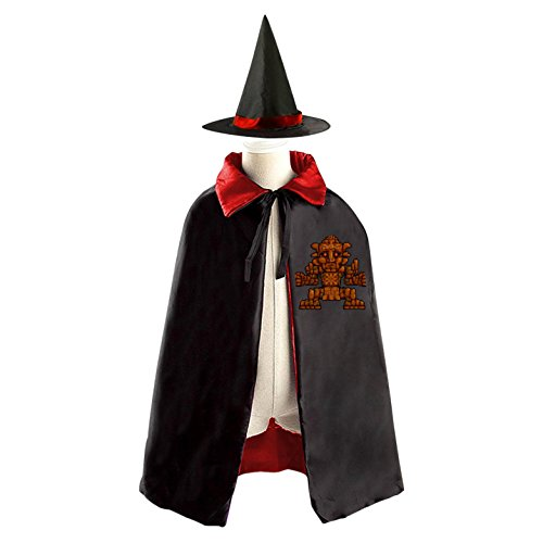 Terraria Costumes Halloween (Terraria Stone Man Halloween Party Costume Kids Cloak Wizard Witch Cape and Hat)