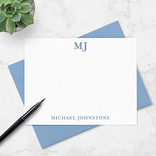 Personalized Monogram Note Cards with Envelopes for Men - Monogrammed Stationery Boxed Set - Choose Ink & Envelope Colors ()