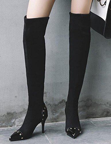 Idifu Damesschoenen Met Sexy Studs En Puntige Faux Suede Hoge Naaldhakken Boven De Knie Hoge Laarzen Zwart
