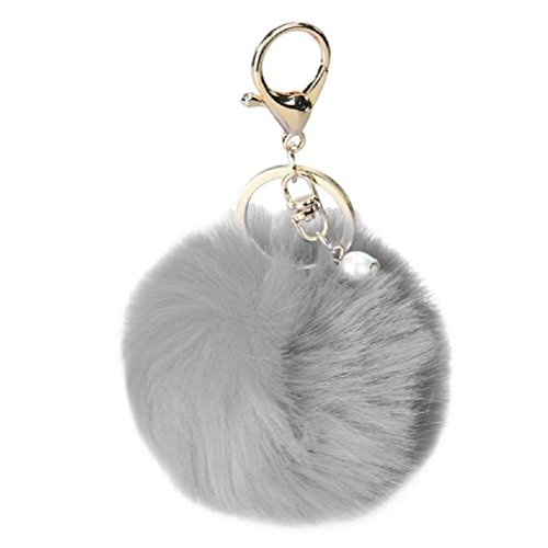 - Lookatool Rabbit Fur Ball Keychain Bag Plush Car Key Ring Car Key Pendant (Gray)
