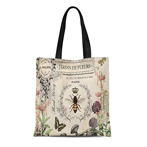 Canvas Tote Bag Queen Vintage French Bee Wateringcan Antique Honey Crown Reusable Handbag Shoulder Grocery Shopping Bags