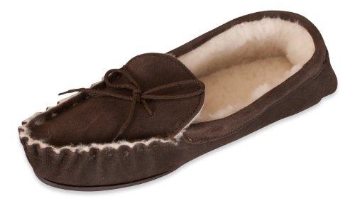 Nordvek Premium Dames 100% Schapenvacht Mocassin Slippers Antislip Zool # 428-100 Chocolade
