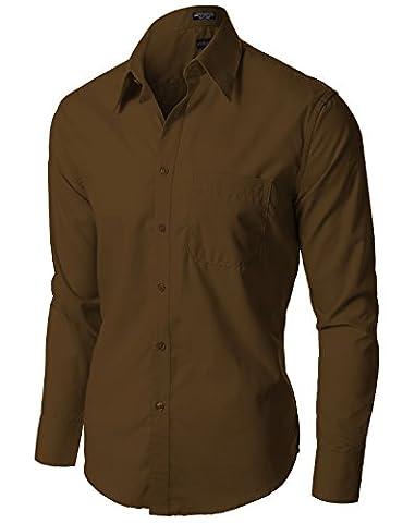 Stylish Comfortable Solid Color Long Sleeve Dress Shirts Brown L (Nautica Half Sleeve Shirt)