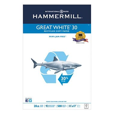 Hammermill 86750 Great White Recycled Copy Paper, 92 Brightness, 20lb, 11 x 17, 500 ()