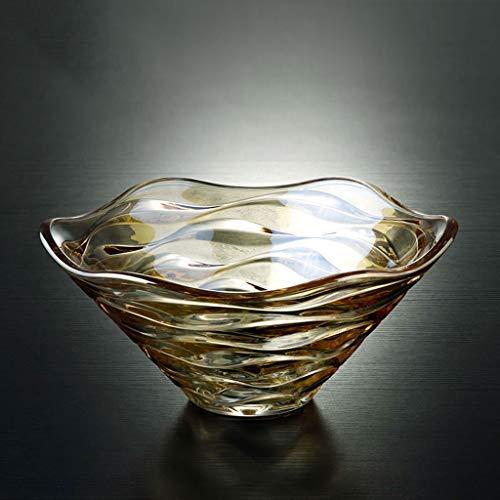 DGEG Fruit Bowl Crystal Glass Wave Pattern Fruit Plate Creative Large Salad Basket Living Room Home Kitchen Dining Room (color : Gold)