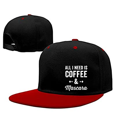 DGJ8GB Adult All I Need is Coffee and Mascara Hip Hop Flatbrim Snapback Caps Contrast Color Baseball Caps for Women
