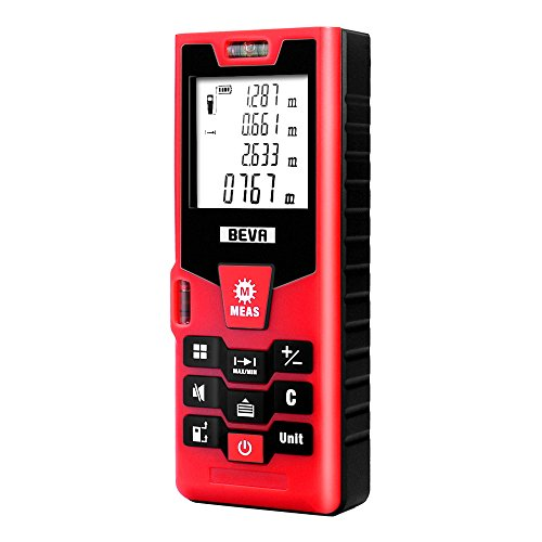 BEVA Laser Measure 131Ft Digital Laser Distance Meter with Large LCD Backlit Mute Function, Handheld Measuring Device with Pythagorean Mode, Measure Distance, Area and Volume