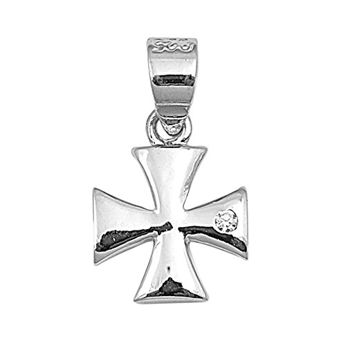 Precious Gem Jewellers .925 Sterling Silver Small Maltese Cross Pendant with Cz Accent (Maltese Silver Sterling Cross)