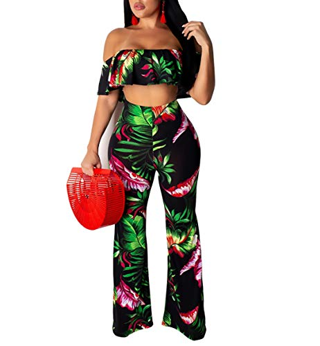 YSJERA Women's 2 Pieces Outfit Floral Sleeveless Tube Top Palazzo Long Pants High Waist Jumpsuits (L, Black Flower)