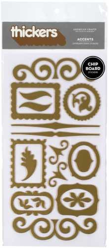 American Crafts Thickers Chipboard Stickers, Accents Metallic Gold ()
