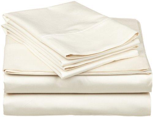 (King Size Flat Sheet Only, Egyptian Cotton 1 Piece Luxury Hotel Flat Sheet/Top Sheet Ivory Solid-100% Satisfaction Guarantee)