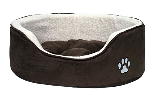 Petface Dog Bed, Sam's Luxury Oval, Fleece and Faux Sheepskin, Washable, Large Brown/White