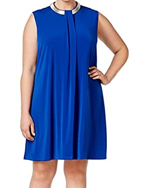 Calvin Klein Womens Plus Hardware Collar Shift Dress Blue 22W