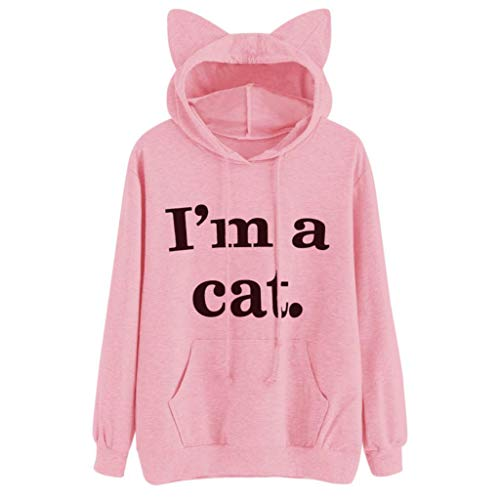 iDWZA Womens Casual Letter Print Cat Ear Hooded Sweatshirt Pullover Tops Blouse(S,Pink)