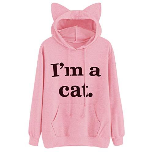 iDWZA Womens Casual Letter Print Cat Ear Hooded Sweatshirt P