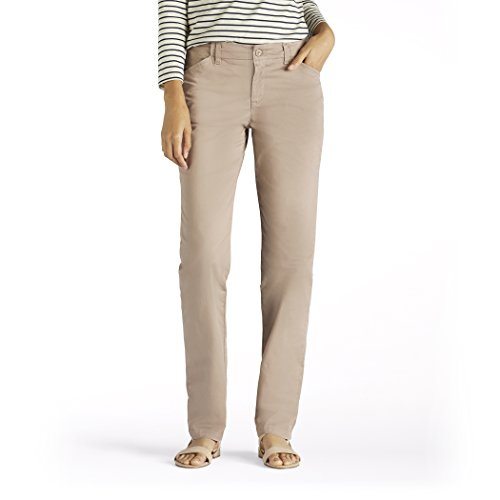 LEE Women's Eased Fit Tailored Chino Pant, Vintage Bungalow Khaki, 10 Tailored Chino