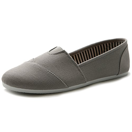 - Ollio Womens Shoe Slip on Sneaker Canvas Flats 1ML031 (10 B(M) US, Grey)