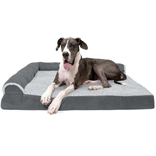 Furhaven Pet Dog Bed   Deluxe Orthopedic Two-Tone Plush Faux Fur & Suede L Shaped Corner Chaise Lounge Sofa-Style Living Room Couch Pet Bed for Dogs & Cats, Stone Gray, Jumbo Plus