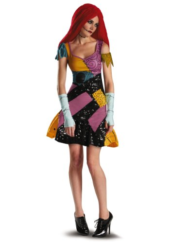 Nightmare Before Christmas Sally Costume Womens (Disguise Tim Burtons The Nightmare Before Christmas Sally Glam Adult Costume, Yellow/Black/Purple, Small/4-6)
