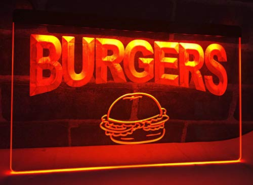 Burgers Cafe Neon Sign for Your Store 11.8inch x 7.8inch - Red Colour