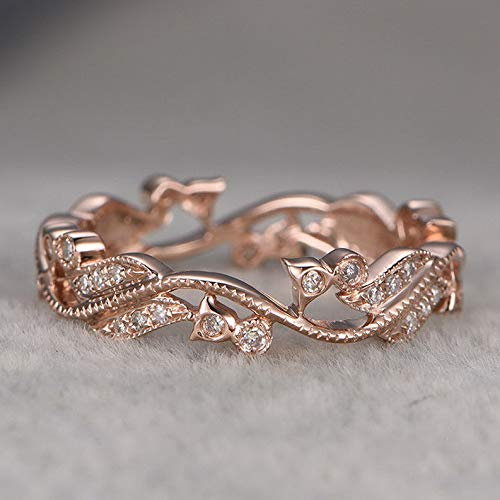 - Dokis 8K Gold Fil Woman Wedding 925 Sliver Engagement Leaves Gift Band Ring Sz6-10 | Model RNG - 17567 | 10