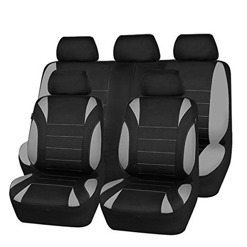 NEW ARRIVAL- CAR PASS Waterproof Neoprene 11 Piece Universal fit Car Seat Covers, Fit for SUVS,VANS,TRUCKS,SEDANS,Airbag Compatible,Insider Zipper Design (Black And Gray)