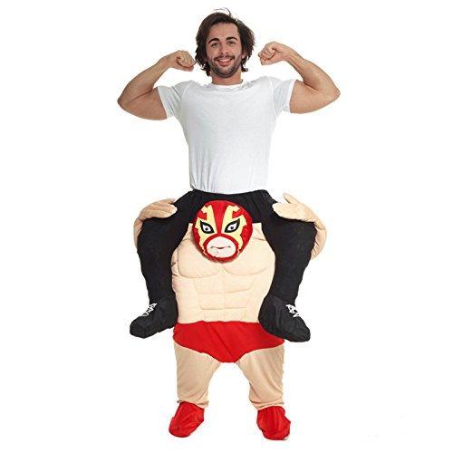 MorphCostumes Men's Piggyback Costume Adult, Wrestler, One Size