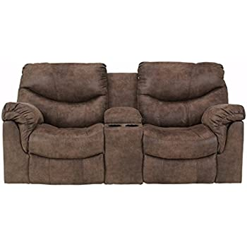 Ashley Furniture Signature Design - Alzena Recliner Loveseat with Console -  Manual Reclining Couch - Gunsmoke 1cbce81d4