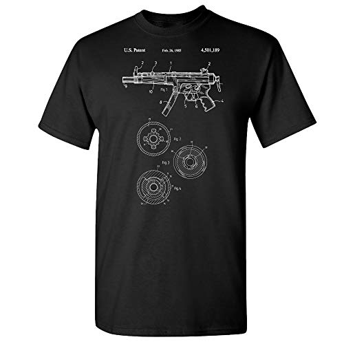 Patent Earth H&K MP5 Submachine Gun T-Shirt, Gun Gifts, SWAT Team, Military Gift, Gun Club Black (Small)