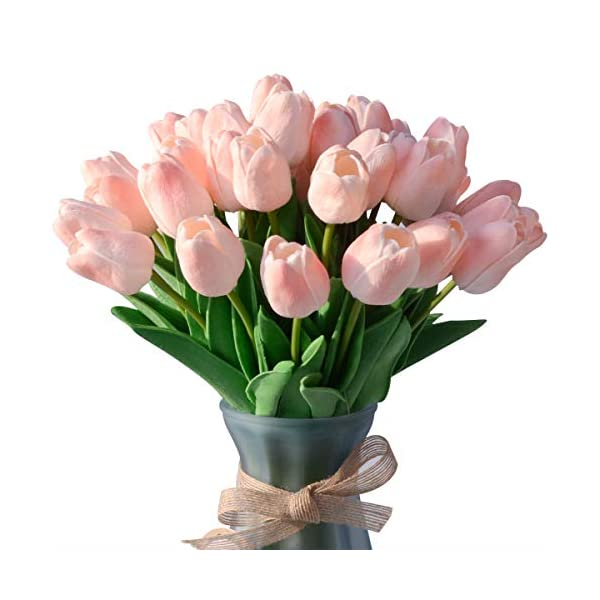 LUYAR 30 PCS Pink Artificial Real-Touch Tulips, Fake Tulips Flowers – Holland Mini Faux Flowers Tulips Great for Wedding Party Home & Outdoor Decor
