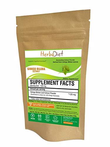 Ginkgo Biloba Leaf Extract Powder 24% Flavinoids 6% Terpene Lactones Boost Focus (5 Gram) by Herbadiet (Image #2)