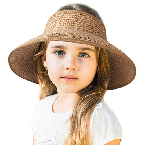 Sun Visor Hats for Women Wide Brim Straw Roll Up Ponytail Summer Beach Hat UV UPF 50 Packable Foldable Travel FURTALK (One Size, Kids-Khaki)