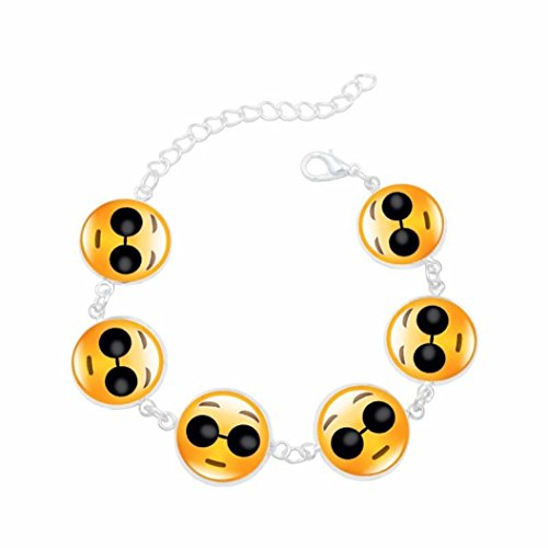 Perlina Novelty - Molyveva Emoji Novelty Toy Wristband Bracelets for Children - 6 Mixed Emoji Design Novelty Bracelets Jewelry Gifts (G)